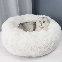 Cat Beds & Furniture Long Plush Pet House Soft Mat Round Dog For Small Dogs s Nest Sleeping Bed Puppy Cushion Drop T200101 VPR1