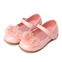Flat Shoes Baby Girls Leather Kids Black White Pink Flower Princess For Wedding Cocktail Party Performance