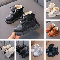 Autumn Winter Plus Velvet Warm Kids Martin Boots for Girls Boys Fashion Leather Soft Bottom Non-slip Children Running Shoe