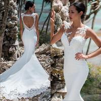 White Lace Appliqued Illusion Back Boho Wedding Gowns robes de mariée sirène Long Train Open Back Mermaid Bride Dress Tcxnd