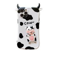 3D elegante desenho animado casos de telefone de vaca bonito para iphone 12 11 pro max mini xr xs x 8 7 plus