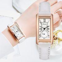 Wristwatches Fashion Watch For Women Dress Leather Rectangle Ladies Bracelet Simple Casual Female Quartz White Wrist Clock Gift