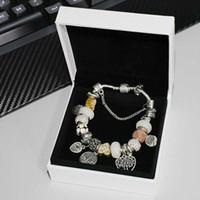 Tasarımcı Bilezik Bilezik 925 Gümüş Kaplama Hayat Ağacı Kolye Charms Set Orijinal Kutusu Pandora Yılan Zincir DIY Boncuk Charm S Kadınlar Kızlar için