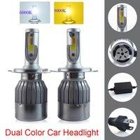 Car Headlights Design Dual Color Tricolor LED Headlight Bulbs H4 H13 9004 9007 72W 7600LM 3000K 6000K Good Quality 2-Colors