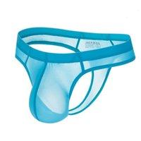 Мужчины ледяное нейлоновое сексуальное нижнее белье Jockmail Bikini ультратонкие трусы прозрачные мужские стринги G strings Tanga Hombre Slip Gay UXHFLEN