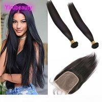 Перуанские человеческие волосы 2 пакета с 6 * 6 кружева закрытие средней тремя свободной части прямые пакеты волос девственницы с закрытием 6x6