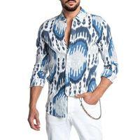 Men's Casual Shirts 2021 Spring And Summer European American Shirt Long-Sleeved Beach Print Top S-2XL
