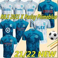 MLS X Parley Primblue 2021 kitleri Futbol Formaları Inter Miami Lafc La Galaxy Atlanta United DC Philadelphia Orlando New York Şehri Erkekler Futbol Forması