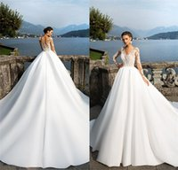 Milla Nova Sheer Long Sleeves Lace Appliqued Satin Wedding Dresses Covered Button Summer Beach Bohemian Wedding Gowns vestidos de