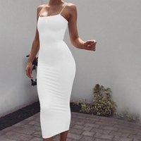 Casual Dresses Milk Silk Solid Color Suspender Skirt Open Back Slim Fit Bag Hip Dress Long Women's Wear Streetwear Ladies