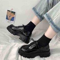 Rimocy Negro Patente Plataforma Plataforma Zapatos Mujeres Gótico Encaje arriba Tacones Chunky Tacones Mujer Estudio Japonés Estudiante Mujer 210610
