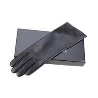 40см сенсорный экран женские длинные кожаные перчатки из овчины зима теплый коралловый шерсть мягкая и удобная кожаная длинная перчатка 201020