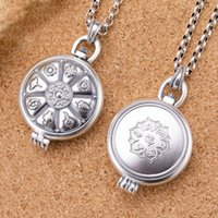 Correntes retro colar de prata oito tesouro lótus de seis caracteres mantra à openable pingente camisola cadeia de jóias acessórios