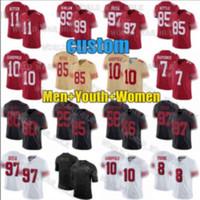 망 여성 49er.청소년 10 Jimmy Garoppolo Jersey 85 George Kittle 97 Nick Bosa Jerry Rice Joe Montana 44 Kyle Juszczyk Football Jerseys