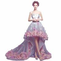 Vestidos de fiesta Romántico Floral High Brezo Bajo Bajo Atrás Prom 2021 Vestido de Festa Gala Jurken Hacer