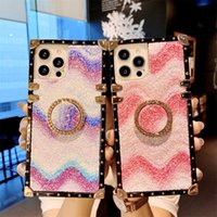 Luxury Wave Pattern Diamond Glitter Bling Phone Cases For iPhone 13 11 12 Pro X XR XS Max 7 8 Plus Square Ring Holder Silicone Cover