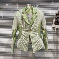 Women's Jackets 2021 Autumn Blazer For Women Outer Mesh Rhinestone Edge Slim Waist Suit Short Coat Office Lady Woman Elegant Blazers Jacket