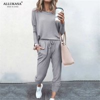 Tracksuit Women 2 Piece Set Loose Comfortable Simple Style Solid Color Long Sleeve Casual Suit Clothes top Spring Autumn 211022