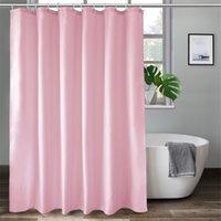 Ufriday сплошной цвет розовый душевой занавес для душевой занавесной ткани взвешенная подъемная линия с крюком прочный полиэстер водонепроницаемый ванная 210830