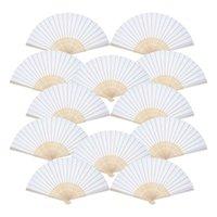 Горячие 12 упаковки Ручные вентиляторы Белая Бумага Вентилятор Bamboo Складные Вентиляторы Ручной Складной Вентилятор для церкви Свадебный подарок, Партия Форс, DIY de