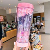 Venta caliente Estilo japonés Starbucks Cherry Blossom Flying Led Coffee Coff Coff Sakura Pink LED Light Cup 473m Envío gratis
