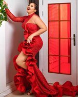 2021 Red Designer Evening Dresses Plus Size High Neck Beaded Crystals Mermaid Side Slit Ruffles One Shoulder Long Sleeves Prom Party Gowns
