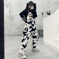 Harajuku Streetwear Kuh Druck Jumpsuits Breite Beinhosen Frauen Overalls Hippie Casual Baggy Hosen Frühling 2021 Koreanische Art