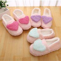 Zapatillas de mujer Big Heart Decor Slippers Warm Soft Sole Mujeres Peluche corto Piso Interior Cubierto Zapatos de talón