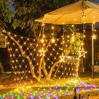 سلاسل الصمام الصافي أضواء سلسلة ربط شبكة الجنية مصابيح 8 أوضاع ماء شنقا الإضاءة الزخرفية زينة عيد الميلاد