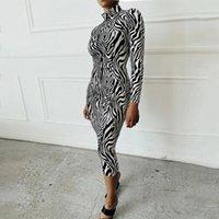 HIRIGIN 2021 Yeni Seksi Kadın Elbise Güz Sonbahar Uzun Kollu Zebra Cilt Baskı Balıkçı Yaka Bodycon Parti Ön Zip Up Kalem Elbise