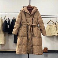 Women's Down & Parkas Ailegogo Winter Women Hooded Loose 90% White Duck Casual Female Oversized Long Coat with Belt Snow Outwear Z8KK