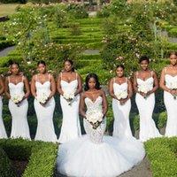 2021 Modestos Branco Sereia Vestidos de Promoção Espaguete Correias Comprimento do Assoalho Long Prom Vestidos Casamento Country Convidado Dos Vestidos Lado Dividir Doméstica
