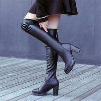 Kadınlar Yeni Sonbahar Diz Çizmeleri Üzerinde Kadın PU Deri Fermuar Bayan Yüksek Topuklu Botas Kadın Seksi Platformu Bayanlar Moda Ayakkabı T4TJ #