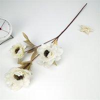 3 cabeças peônia seda artificial vintage peony simulação flor 63 cm em comprimento Falso flores para casamento diy home decor gga4239