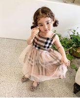 아기 소녀 레이스 얇은 얇은 격자 무늬 드레스 어린이 일시 중지 메쉬 Tutu 공주 드레스 2021 여름 부티크 아이 의류 클래식 색상