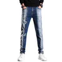 2021 봄 새로운 남성의 파란색과 흰색 씻어 찢어진 청바지 패션 레트로 바지 정규 맞는 스트레치 데님 바지 남성 브랜드, 723 x0621