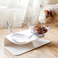 Cat Bowls & Feeders Double Bowl Non-slip Interactive Feeding Water Dispenser ABS Material With Raised Stand For Dogs Pet Products