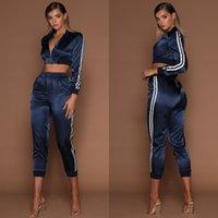 WannaThis Autumn Winter Satin Sets Women Zipper Side Stripe Crop Tops Drawstring Calf Length Pants Sexy Workout Tracksuits
