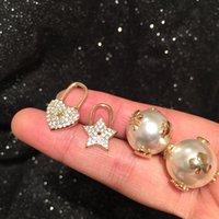 새로운 패션 럭셔리 디자이너 사랑스러운 꽤 꿀벌 다이아몬드 스타 하트 진주 양면 스터드 귀걸이 여자 여자 925 실버 게시물 1238 B3