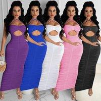 Frauen Sexy Bodycon Hohl Spaghetti Strap Haltereck Plissee Langes Slim Club Kleid Y0603