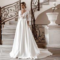 V-Neck Lace Applique Bodice A-Line Wedding Dress Empire Waistline Matte Satin Bridal Dresses Half Sleeves