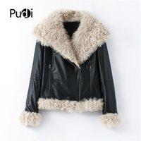 Женский меховой меховой из искусственного зимнего мотоцикла натуральная кожа пальто отдыхает женский настоящий овец пальто куртка ткань B401707