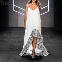 Lässige kleider frauen sommer stilvolle langes kleid zanzea sexy v neckband vestido weibliche hohe rüschen robe patchwork ärmellos