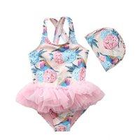0-5 Jahre Baby Kleinkind Mädchen Prinzessin Spitze Schicht Badeanzug Tutu Kleid Ein-Stücke Badebekleidung Floral Strand Outfits mit Schwimmmütze