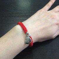 Lucky Kabbalah Mom Pendant Red Braccialetto intrecciato Braccialetti Giornata della mamma Gioielli