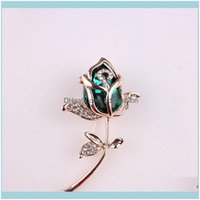 Pins, Jewelrywholesale- Fashion Crystal Flower Brooch Pin Rhinestone Alloy Rose Gold Brooches Birthday Gift Garment Aessories 3678261 Drop D