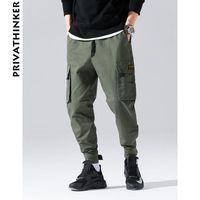 Men's Pants Men Thick Camo Joggers 2021 Mens Hiphop Pocket Ankel Cargo Male Fall Streetwear Black Overalls Trousers
