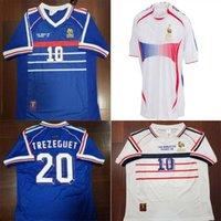 1998 Versão Retro França Jersey 96 98 02 04 06 Zidane Henry Maillot de pé Camisa de futebol 2000 uniforme de futebol em casa