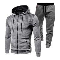 Men's Tracksuits Men 2PC Tracksuit Set Hooded Sweatshirt long Pants Jogging Zipper Solid Color Spring Autumn Long Sleeve Coat Sportpant Suit