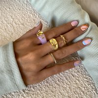 Baroque Retro Letter Crystal Open Rings Candy Color Acrylic Wide Finger Jewelry Sets Women Alloy Heart Geometric Gold Ring Accessories Wholesale